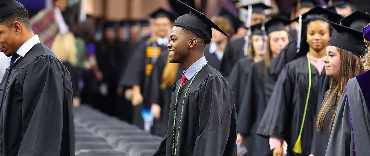 Students walking on a commencement Ceremony
